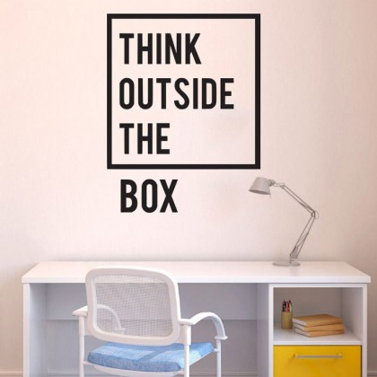 Think outside the box office inspirational quotes wall sticker