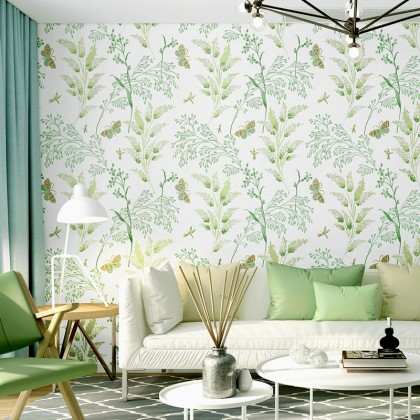 Green Leaves Garden Theme Interior Home Decoration Wallpaper