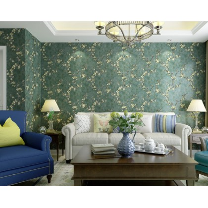 European style Living hall theme background home decoration wallpaper dark green flower color