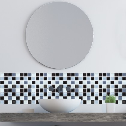 (Tiles) European modern self-adhesive mosaic pattern tiles oilproof grid stereo ceramic sticker/1 set 6pscs