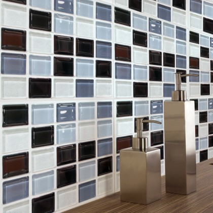 European modern self-adhesive mosaic pattern tiles oilproof grid stereo stickers