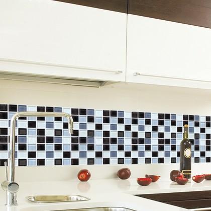 European modern self-adhesive mosaic pattern tiles oilproof grid stereo ceramic sticker/1 set 6pscs