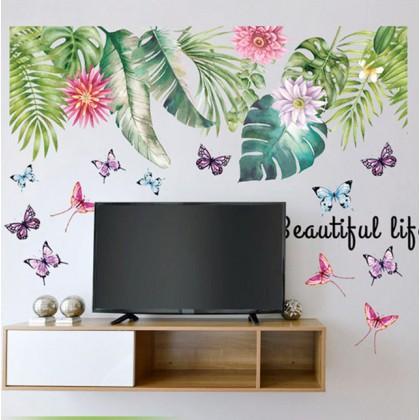Beautiful Life Tropical Flower Plant Wall Art Sticker Art Decoration - TYSK2025AB