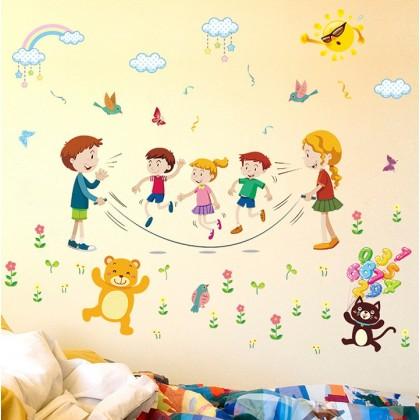 Cartoon animals party kids sticker wall art decoration