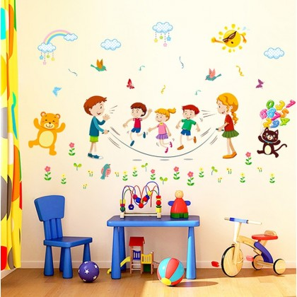 Cartoon animals party kids sticker wall art decoration