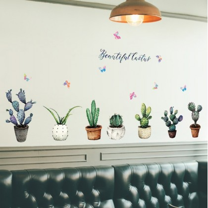 Beautiful cactus potted wall art decoration removable sticker