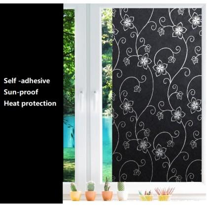 Black Flower Pattern Privacy Window Film Frosted Glass No Glue Anti-UV Window Sticker