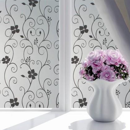Modern Black Floral DIY Background Privacy Glass Window Tinted Window Film