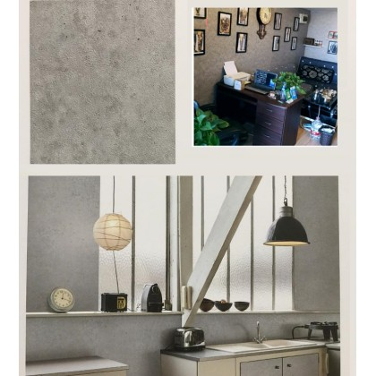 (Plain) Grey Cement Pattern Wallpaper Sticker Covering Contact Paper PVC Waterproof