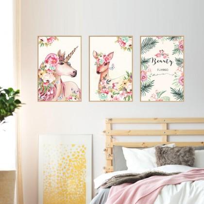 Beauty Flamingo Photo Frame Wallsticker Wall Art Decoration Removable Sticker