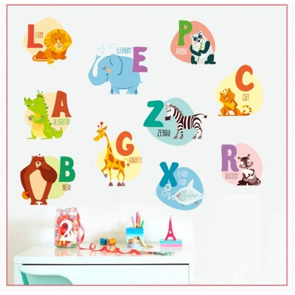 ABC Education Day Care Cartoon Animals English Alphabet Stickers