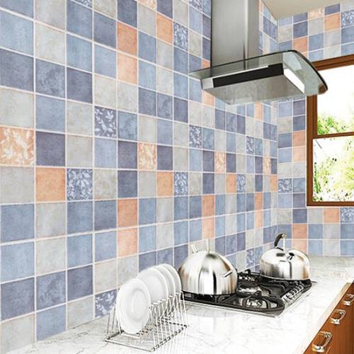 Blue Kitchen Mosaic Pattern Pvc Contact Paper Waterproof