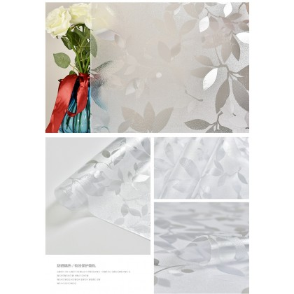 Leaves Pattern Privacy Frosted Glass Window Shading Film Tinted