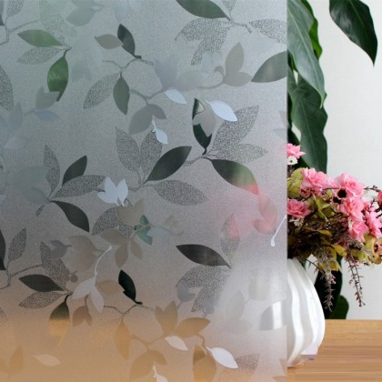 Leaves Pattern Frosted Glass Window Shading Film Tint-T82