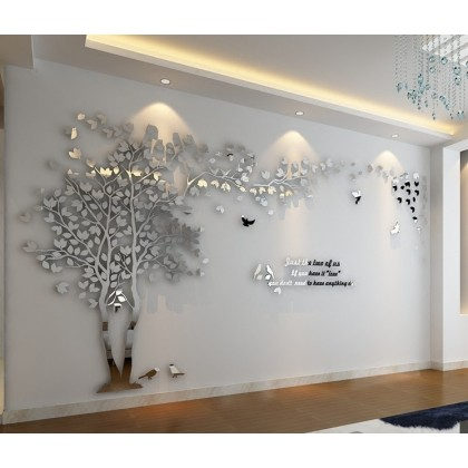 Creative Forest Tree 3D Crystal Acrylic Wall Stickers Silver Mirror - AC023