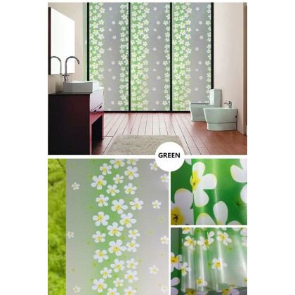 Green Flower Frosted Privacy Glass Window Tinted Grass Flower Window Film