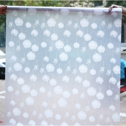 Dandelion Pattern Frosted Glass Window Privacy Shading Film Tinted for Home Decoration