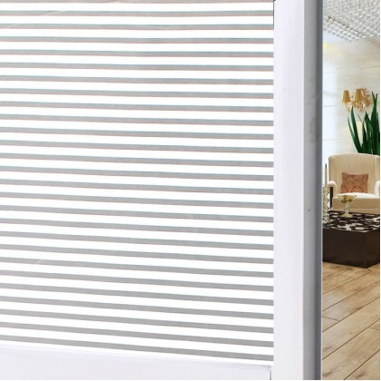 Stripe Design Frosted Privacy Glass Window Shading Film Tint