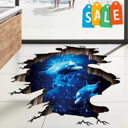 3D Blue phantom dolphin PVC removable wall stickers decorative