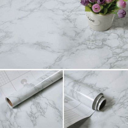 [width 80cm ] Waterproof White Marble Contact Paper Wallpaper Sticker Self-Adhesive Granite Sticker Kitchen Peel Stick Backsplash Marble Tile Countertop