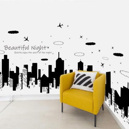 Beautiful Night City removable wall stickers decorative Art