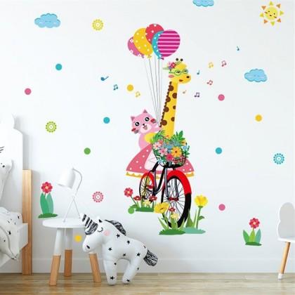 Giraffe cartoon children's room bedroom living room study decoration self-adhesive wall stickers