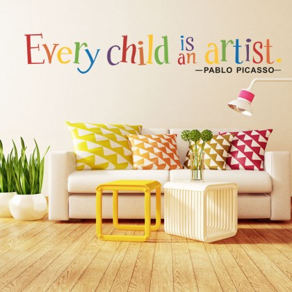 Every Child is an artist wall sticker bedroom daycare background decoration sticker