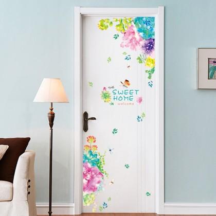 Floral door decoration sticker Decal Art Nature Flower