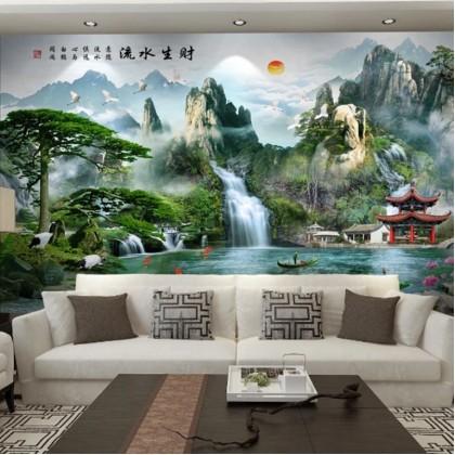 Custom Mural Wallpaper-流水生财