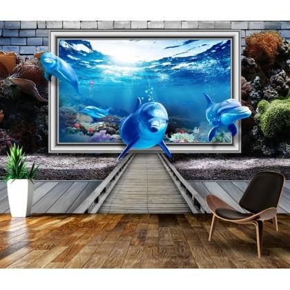3D Dolphin Custom Mural Wallpaper