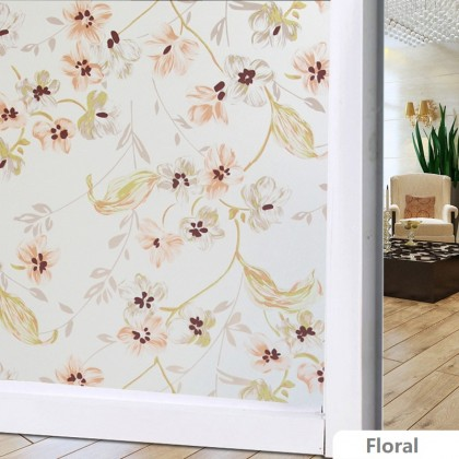Floral Pattern Background Window Shading Film Tinted for Home - WIDTH:90CM