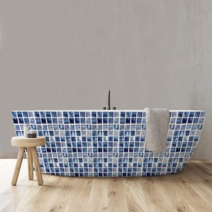 EUROPEAN STYLE KITCHEN TILES MOSAIC IMITATION CERAMIC BLUE WALL STICKER