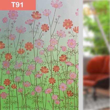Flowers Pattern Background Window Privacy Shading Film Tinted for Home