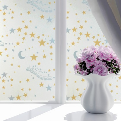 Cartoon Trains Star Background Window Privacy Shading Film Tint