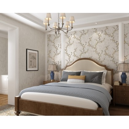 European style Living hall theme background home decoration wallpaper light grey flower color