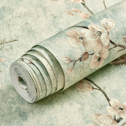 European style Living hall theme background home decoration wallpaper light green flower color
