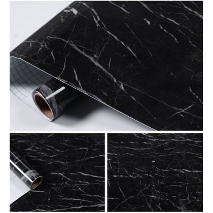 (Marble) Black Marble Background Furniture Refurbished Contact Paper PVC Self-Adhesive Waterproof Wallpaper Sticker