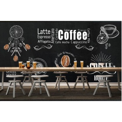 Blackboard, hand drawn, cafe tooling Custom Mural Wallpaper