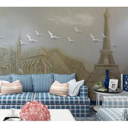 Embossed European famous building Custom Mural Wallpaper