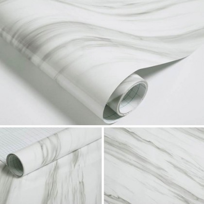 (Marble) Waterproof White Marble Contact Paper Wallpaper Sticker Just Peel and Stick Easy Install