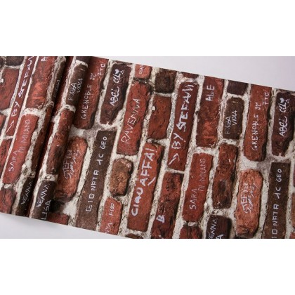 Graffiti wallpaper English alphabet industrial style nostalgic loft brick pattern brick wallpaper