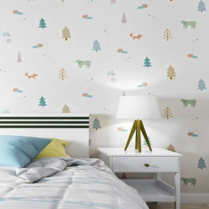 Children's room doodle cute animal cartoon background living room home decoration interior wallpaper