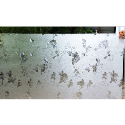 3D Rose Flower Pattern Frosted Glass Window Shading Film Tinted [Size: 90cm x 100cm]