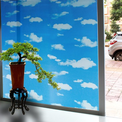 DIY Privacy Glass Window Tinted Cloud Background Window Shading Film Tint