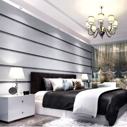 Non-woven marble horizontal and vertical wide stripe wallpaper