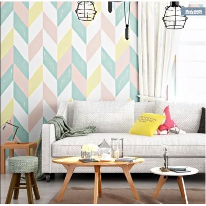 Nordic style wall lattice square wallpapers non sticker