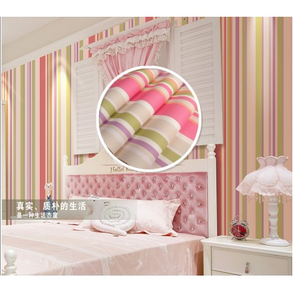 Colored vertical stripes wallpaper Pink hellp kitty non adhesive