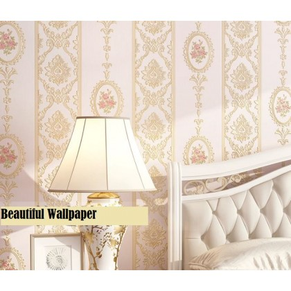 Thick pink vertical stripes non-woven wallpaper