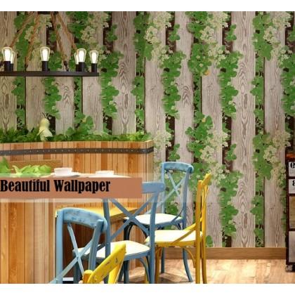 Wood grain imitation wood wallpape