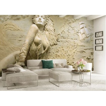 Embossed sexy girl by the sea Custom Mural Wallpaper